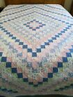 VTG+Hand+Quilted+PATCHWORK+Flowers+Pink+Blue+Pastel+DIAMOND+Quilt+102x87