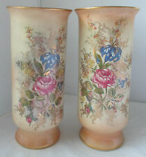 PAIR BECKWITH CHINA ZAPUN HAND PAINTED FLORAL ROSE VASES