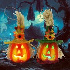 Pumpkin with Hat LED Light Lamp Lantern Halloween Party Bar Decor HU