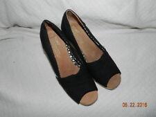 Womens TOMS 380113 black canvas open toe wedge heels sz. W 7