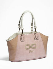 NWT GUESS Authentic Genera Patent Satchel Croco Carryall Tote Handbag Pink Beige