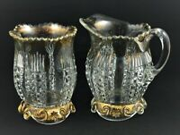 VINTAGE EAPG GLASS VASE AND PITCHER / SUGAR AND CREAMER SET CLEAR GOLD