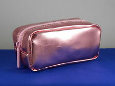 Bareminerals Metallic Pink Faux Leather Top Zip Small Cosmetic Makeup Bag