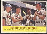 1958 Topps Braves Fence Busters Hank Aaron Mathews Vintage Baseball Card #351 EX