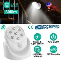 Adjustable 7LED Motion Activated Sensor Cordless Light Indoor Outdoor Patio Wall