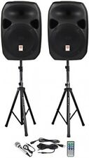 Rockville Powered Dual Speakers DJ PA Sound System With Stands Microphone Black