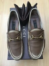 GUCCI MENS SHOES BEIGE BROWN LEATHER SNAFFLE HORSEBIT LOAFERS UK 9.5 43.5 1953