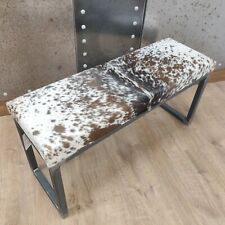 Cow hide topped Steel SLIM bench 100x30cm -  handmade in the U.K