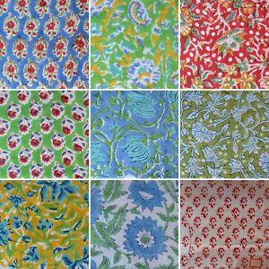 Indian Cotton Sewing Running Loose Hand Block Print Fabric Women Man Clothing