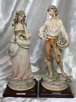Vintage Pair Lady & Gentleman Figures Resin Sculptures Florence Italy Signed