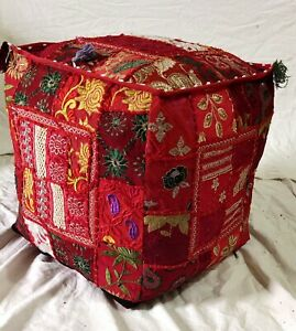 """Indian Cotton Handmade Poufs Cover Ottoman Footstool Patchwork 18X18X18"""" Inches"""
