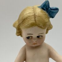 "3.5"" All Bisque Pouty Bow Girl Side Glancing Doll Marked 22797 Germany"