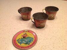 Vintage Tin Litho Tea Set 4 Pieces Little Bo Peep Ohio Art Cups Saucer Used