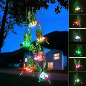 LED Solar Powered Wind Chime Lights Hummingbird Yard Garden Decor Color Changing