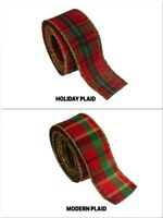 """4 Yards Rolled-up PLAID With GOLD WIRED Edge Ribbon 1-1/2"""" Choose Design"""