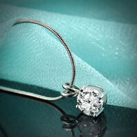 """Perfect Round Cut 14K White Gold Plated Lab Crystal Pendant Necklace + 18"""" Chain"""