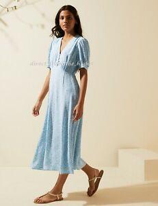 M&S Ghost Blue Mix Floral V-Neck Puff Sleeve Midi Tea Dress Size UK8_10_12_14_16