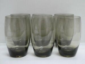 SET OF 6 SMOKEY GLASS CUPS GLASSES RETRO MID CENTURY TUMBLERS