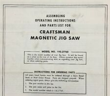 Vintage Craftsman Instructions/Parts List for Magnetic Jig Saw Power Tool Manual