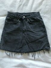 High Waisted Vintage Faded Black Denim Levis Skirt Fits Small Size 8
