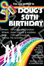 Personalised Birthday 30th 40th 50th Costume 70's 80's Fancy Dress Party Invite