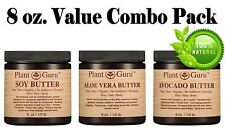 Aloe Vera Avocado Soy Butter Cold Pressed 100% Pure Raw Natural 3 Pack - 8 oz.