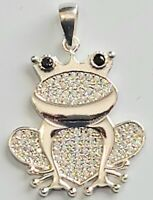 Frog Pendant Cubic Zirconia Stones 925 Sterling Silver