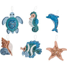 "Bucilla 'Under the Sea"" Felt Christmas Ornaments Kit Nautical Tropical Beach"