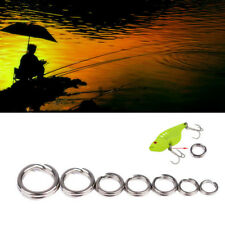100/200X Fishing Solid Stainless Steel Snap Split Ring Lure Tackle Connector Kit