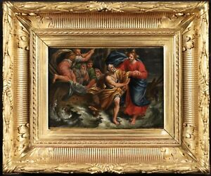 18th CENTURY FRENCH OLD MASTER OIL ON CANVAS - CHRIST CALMING STORM SEA GALILEE