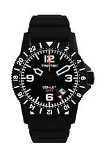 NEW Trintec Aviation Co-Pilot GMT Men's Black Steel Watch w/ Rubber Band + orang