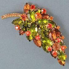 Vintage Brooch JULIANA Large 1960s Green Amber Crystal Leaf Goldtone Jewellery