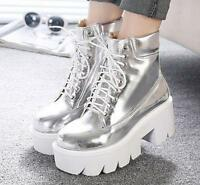 Punk Gothic Women's Lace Up Round Toe Platform Chunky Heel Ankle Boots Shoes SZ