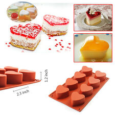 8-Cavity Silicone Heart-shaped Mold Cake Pudding Chocolate Cupcake 3D Baking Pan