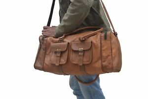 Stylish  Genuine Leather Large Vintage Duffle Travel Gym Weekend Overnight Bag