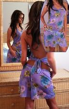*NEW USA Multi Colors Hawaii Floral Swimwear Cover up Tie Halter Shorts XL 1X 2X