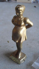 "Odd Vintage Cast Metal Pregnant Girl Figurine 6 1/4"" Tall Look"