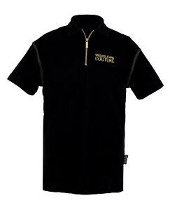 Versace Jeans Couture Black 100% Cotton Short Sleeve Polo Zip Shirt-50