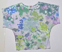 Woman's BEFORE+AGAIN Floral Blouse Top Shirt Green Short Sleeve Size Small S