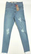 Women's Levis Mile High Skinny Blue 6 Medium W Rips Frayed Hem Actual SZ 26 x 28