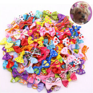 2~10X Pet Dog Hair Bows Rubber Bands Cat Grooming Puppy Topknot Rope Accessories