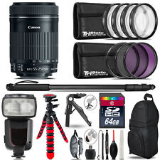 Canon 55-250mm IS STM + Professional Flash + Macro Kit - 64GB Accessory Bundle
