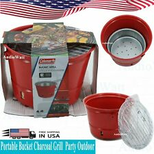 Coleman Portable Red Bucket Charcoal Grill Party Outdoor Cooker BBQ Backyard NEW