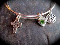 Celtic Cross Adjustable Wire Bangle Bracelet with Celtic knot charm Irish