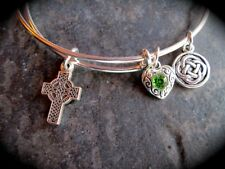 Celtic Cross Adjustable Wire Bangle Bracelet with Celtic knot charm Irish