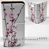 For LG Series Mobile Phone - Cherry Blossom Theme Print Wallet Phone Case Cover
