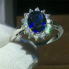 3Ct Oval Blue Sapphire & Diamond Cluster Halo Engagement Ring 14K White Gold Fn