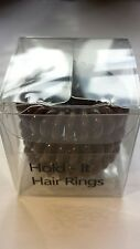 Hold It Hair Rings 4cm Spiral Stretchy Bobbles Hair Bands 3x4cm Brown