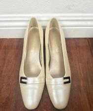 Magdesians Women's Pumps Heels Light Beige Leather USA Sz 8M