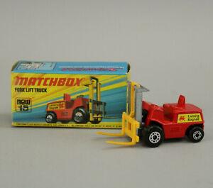 NOS VTG 1972 Lesney Matchbox Superfast #15 Red Fork Lift Truck MIB Mint in Box!